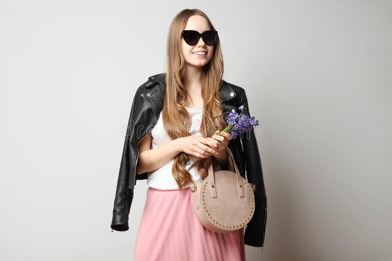 Girl in fashionable spring clothes royalty free stock photos