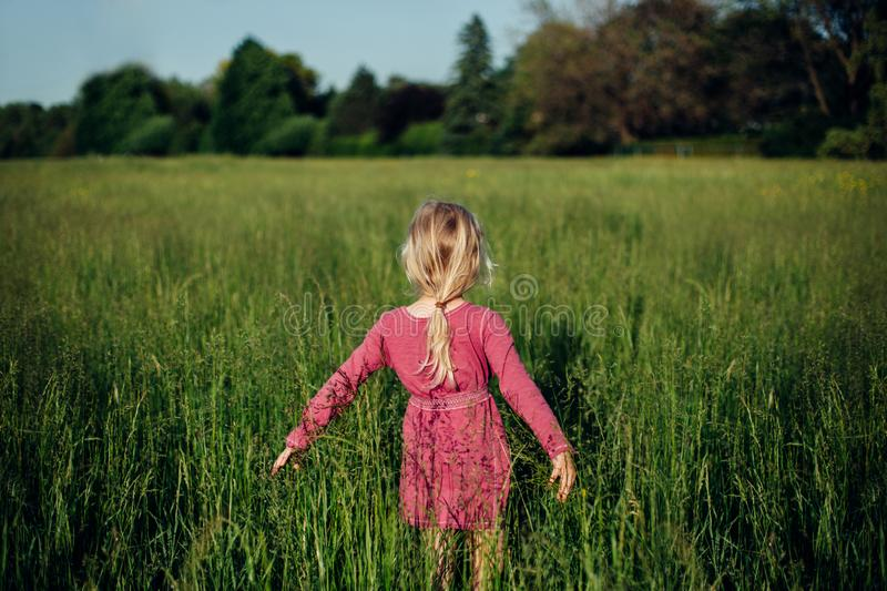 Beautiful Caucasian girl in tall grass on meadow at sunset. Blonde Caucasian girl in pink rustic dress walking in tall grass on meadow at sunset. Happy child stock photo