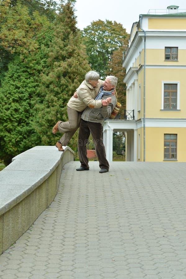 Beautiful caucasian senior couple having fun together stock photos