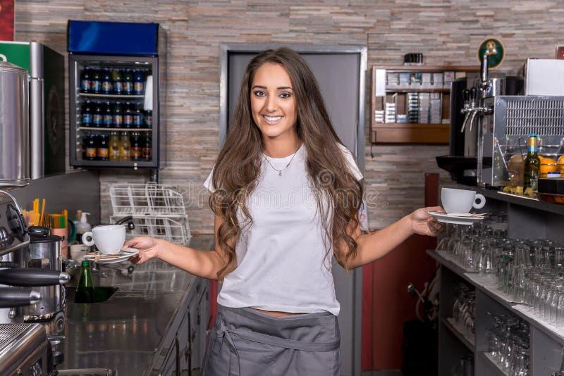 Beautiful caucasian waitress royalty free stock photography