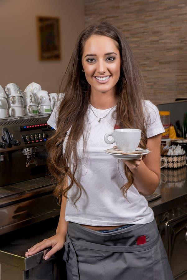 Beautiful caucasian waitress stock photography