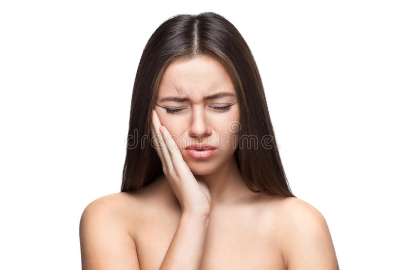Beautiful caucasian woman angry portrait isolated royalty free stock photos