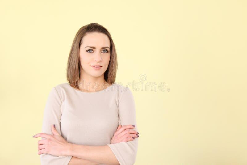 Download Beautiful Caucasian Woman Arms Crossed Stock Photo - Image: 23618912