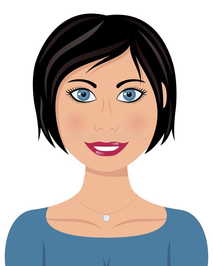 Beautiful Caucasian Woman with Black Hair vector illustration