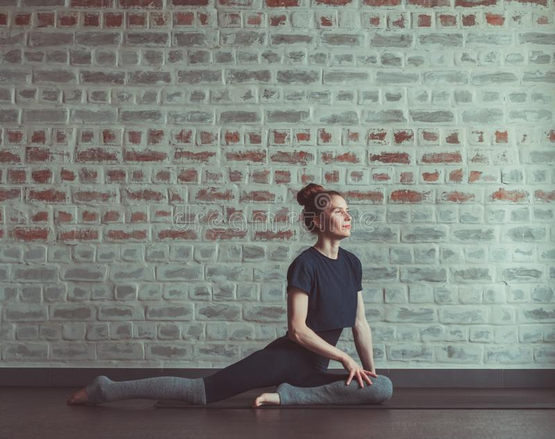 Beautiful woman in dance class stock photos