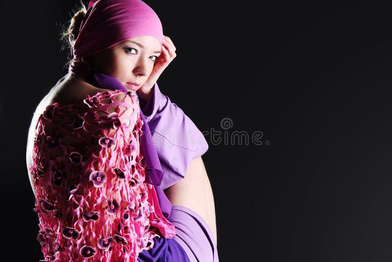 Beautiful caucasian woman in pink elegant dress royalty free stock images