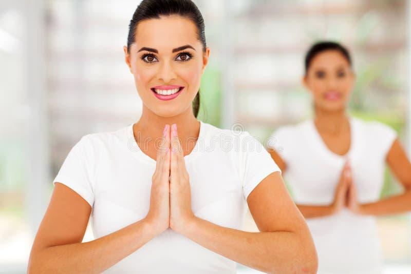 Caucasian women yoga royalty free stock photos
