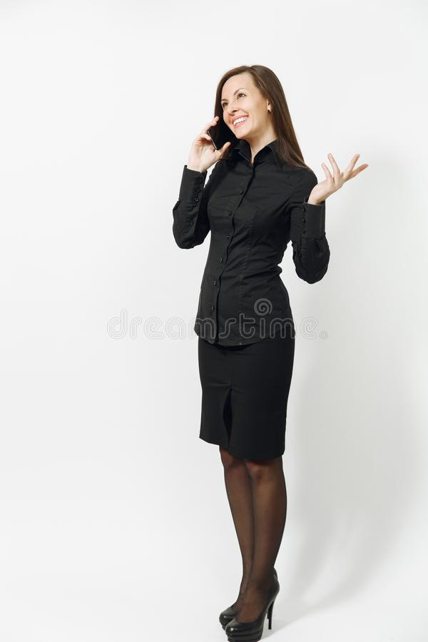 Beautiful caucasian young brown-hair business woman isolated on white background. Manager or worker. Copy space advertisement royalty free stock photo