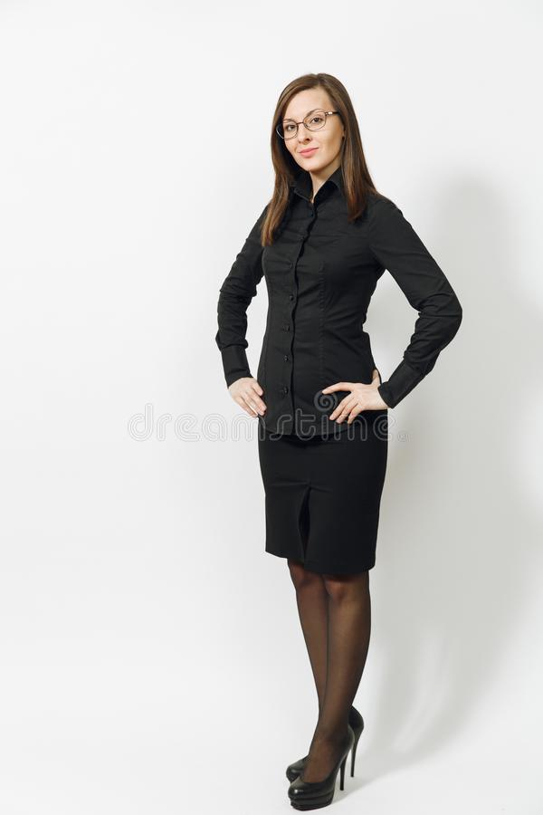 Beautiful caucasian young brown-hair business woman isolated on white background. Manager or worker. Copy space advertisement stock photos