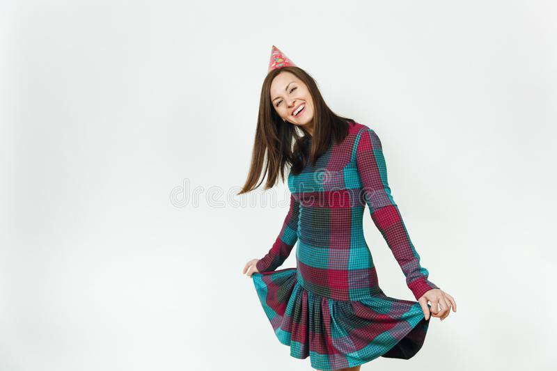 Beautiful caucasian young happy people on white background isolated. Holiday, party concept. stock image