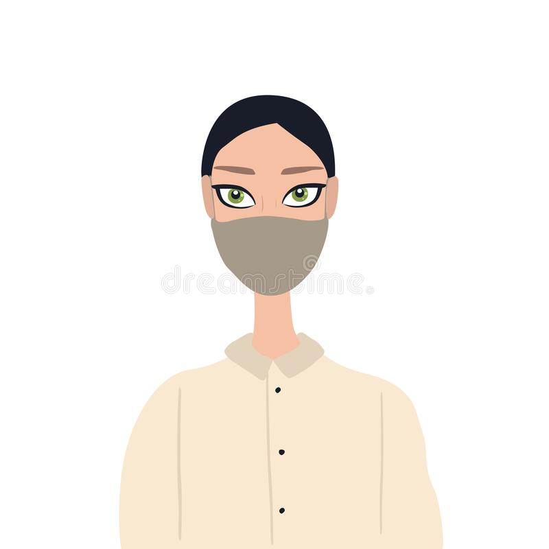 Beautiful caucasian young woman with big green eyes wearing medical face mask Healthcare antybacterial antiallergic. ConceptVector illustration royalty free illustration