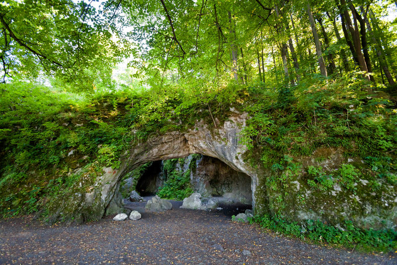 Beautiful cave in Stramberk Sipka park stock image