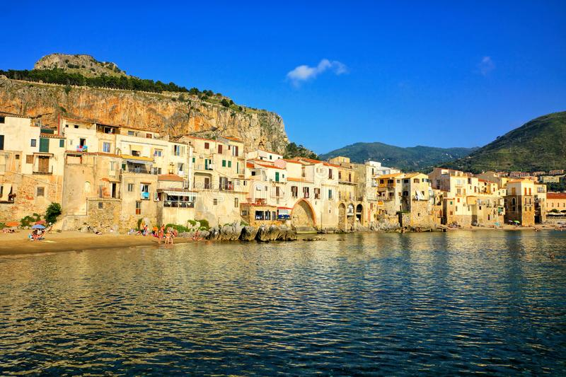 Cefalu harbor along the Mediterranean Sea, Sicily, Italy royalty free stock photography