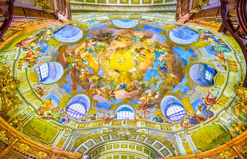 The beautiful ceiling of Austrian National Library in Vienna royalty free stock photos