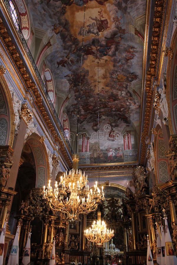 Download Beautiful Ceiling In Church Of Lvov Stock Image - Image of church, column: 39502929