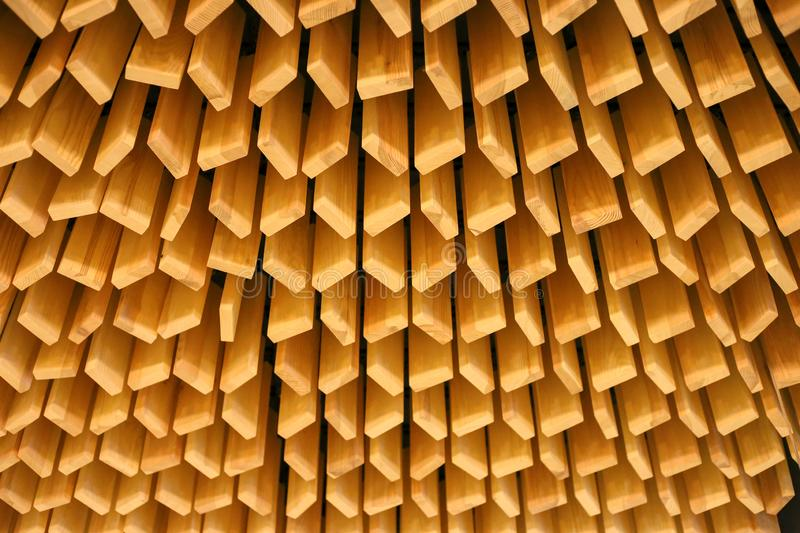 Beautiful ceiling in the restaurant. Wooden slatted ceiling. Loft texture. Loft style wood decor. Wooden slatted texture stock photography