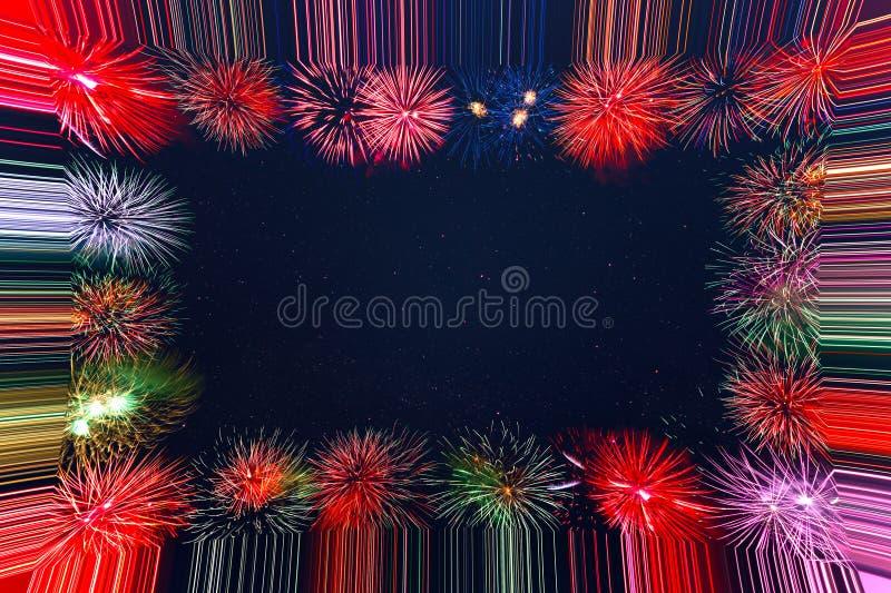 Beautiful celebration holiday fireworks frame royalty free stock photography