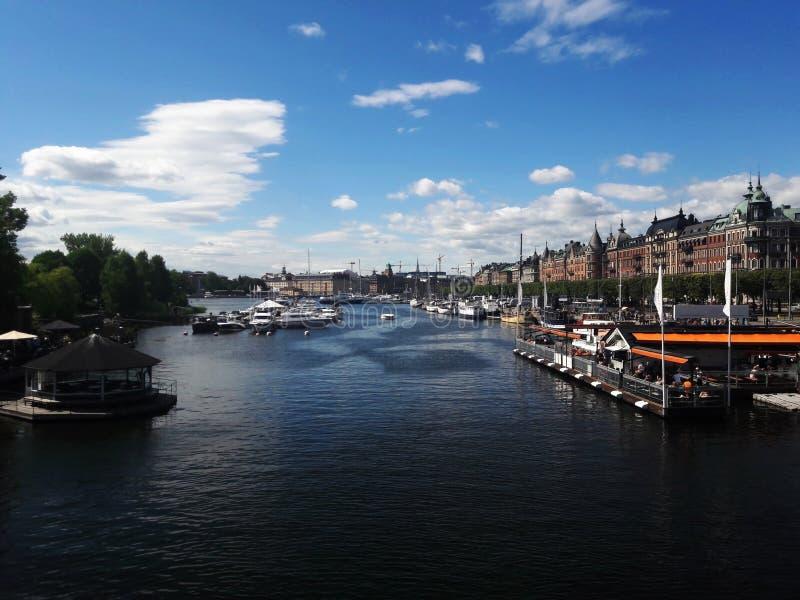 Beautiful center of Stockholm lake, river. Summer royalty free stock photos