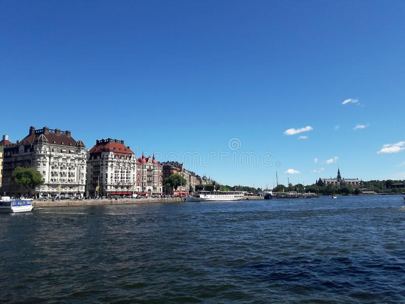 Beautiful center of Stockholm lake, river. Summer royalty free stock photography