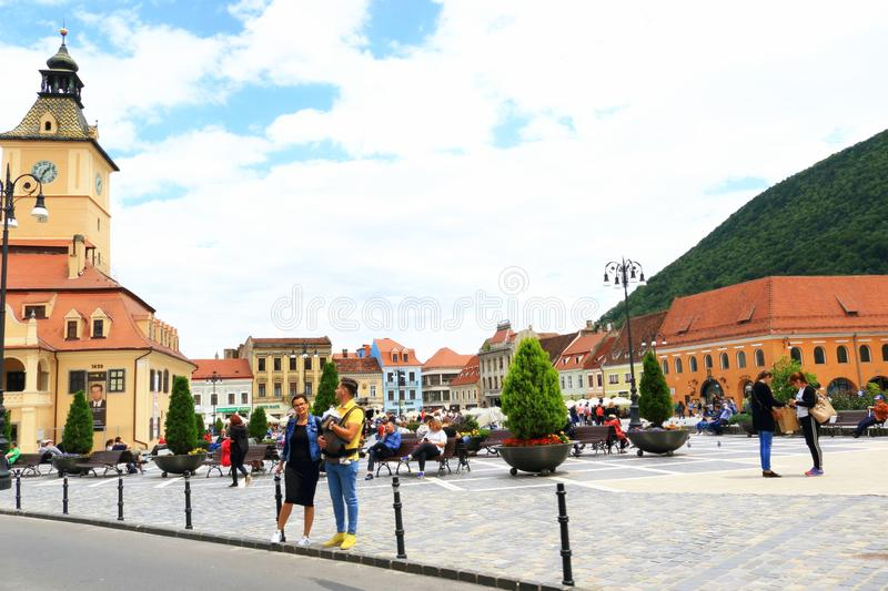 Beautiful Central square Centrul Vechi BraÈ™ov city Romania. A view of beautiful Centrul Vechi Central square in Brasov city Romania.BraÈ™ov is a city in stock photos