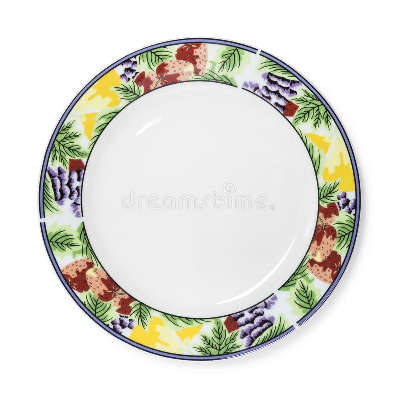 Beautiful ceramic dish isolated on white background. Design plate in fruit pattern style.  Clipping path. Dish stock image