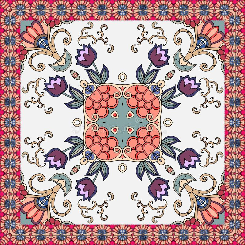 Beautiful ceramic tile or bandana print with tulips flowers and ornamental floral frame in ethnic style. Vector summer design.  vector illustration
