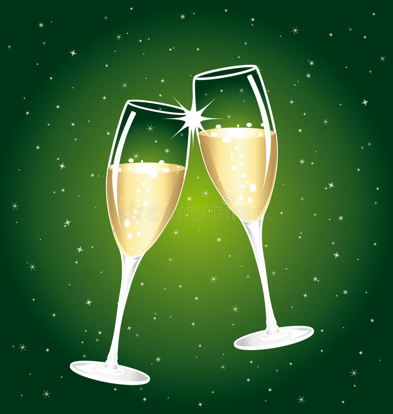 Beautiful champagne toast. stock illustration
