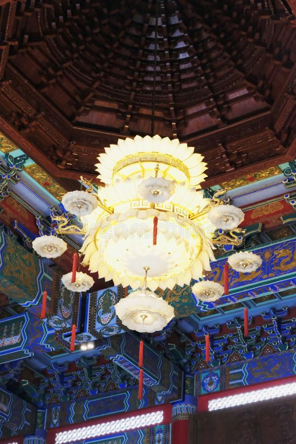 Beautiful chandelier hanged down from a ceiling. Yesterday,I travel to visit the most beautiful Chinese temple in a province nearby the capital city of Thailand stock images