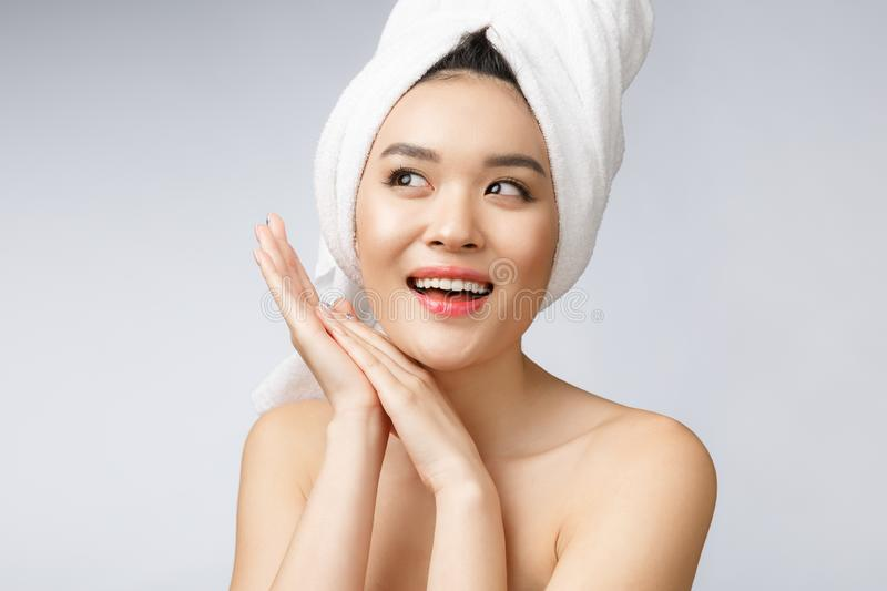 Beautiful Charming Asian young woman smile with white teeth, feeling so happiness and cheerful with healthy skin stock image