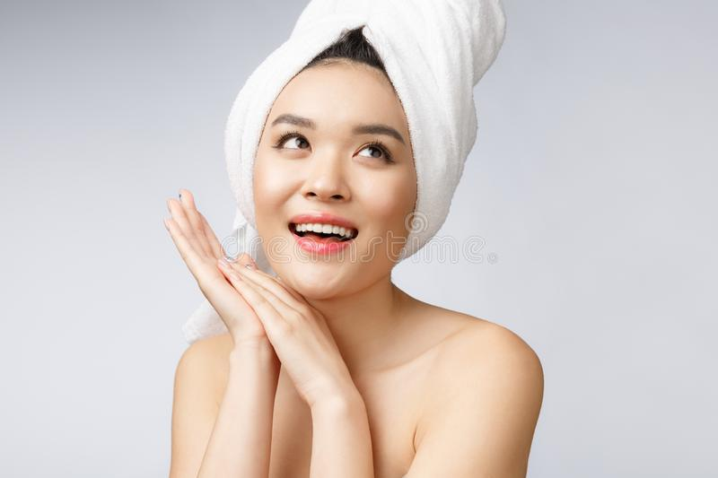 Beautiful Charming Asian young woman smile with white teeth, feeling so happiness and cheerful with healthy skin royalty free stock image