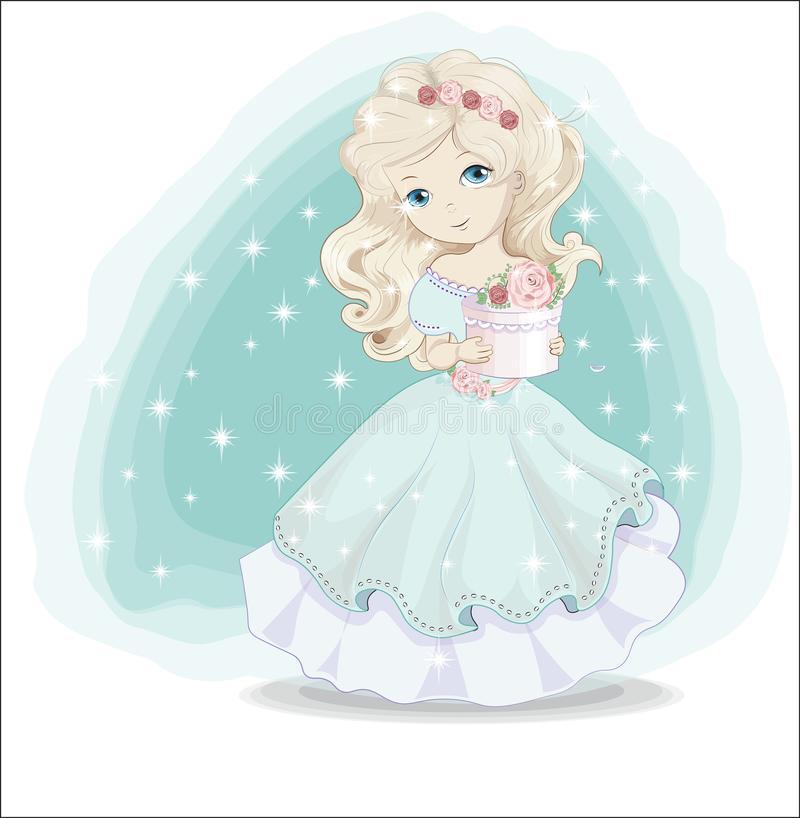 Little princess blonde in blue dress with gift royalty free illustration
