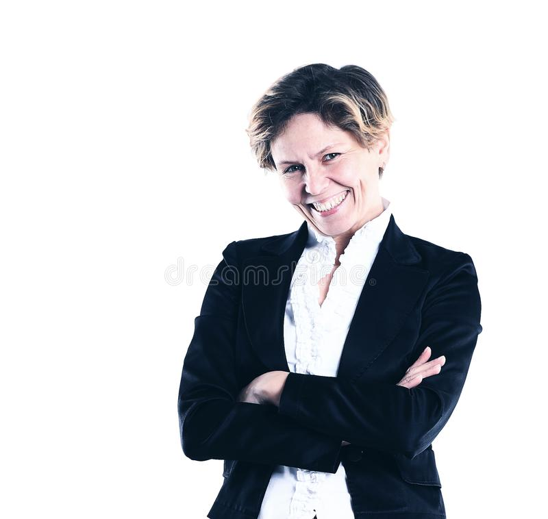 Beautiful and charming business woman on a white background royalty free stock photos
