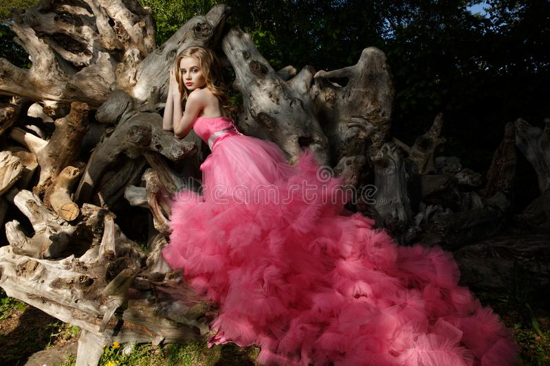 Charming woman pink evening dress with fluffy aerial skirt is posing in botanical garden on the driftwood dried wood trunks stock photos