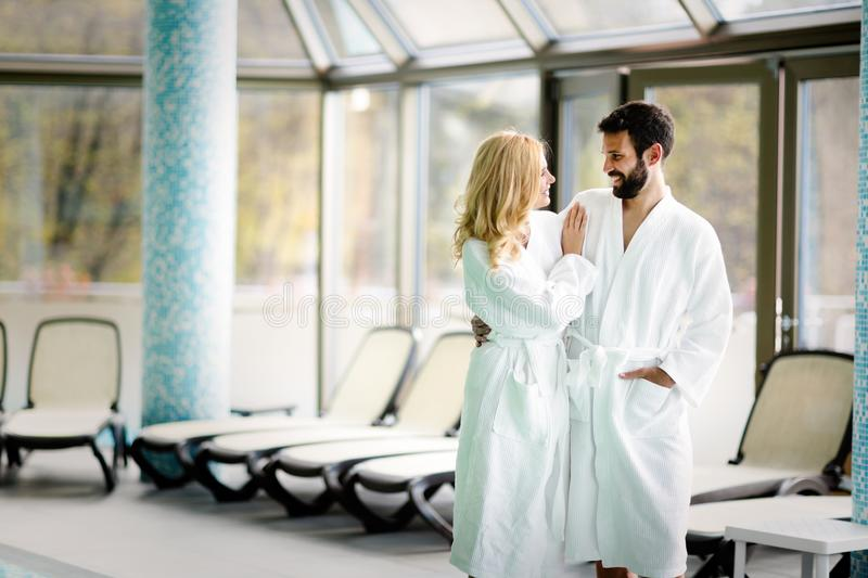 Beautiful cheerful couple relaxing in spa center. Together stock photos
