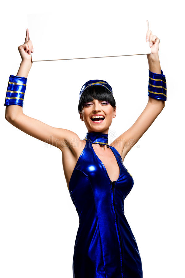 Beautiful cheerful stewardess royalty free stock photo