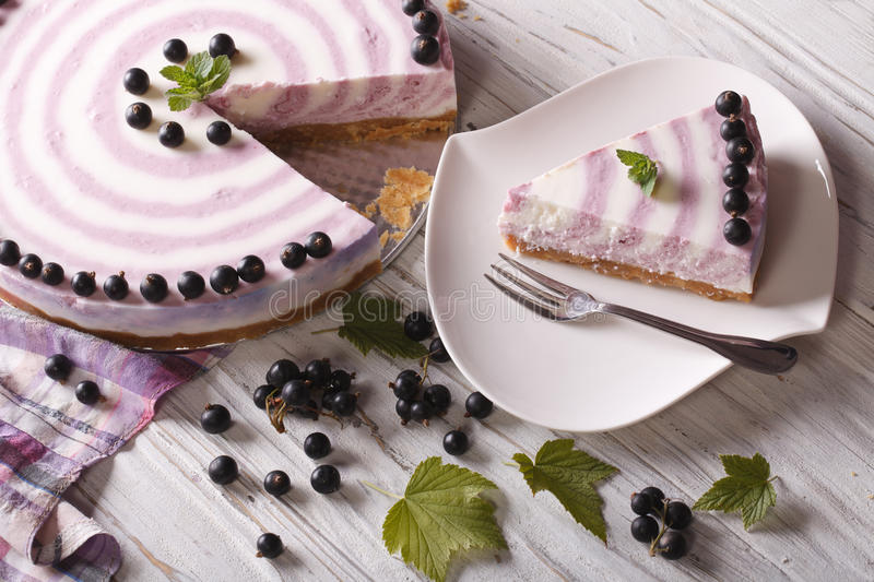 Beautiful cheese cake with currants close-up horizontal top view royalty free stock photos