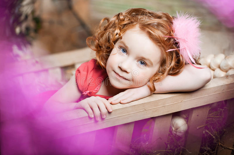 Beautiful child on the farm royalty free stock photo