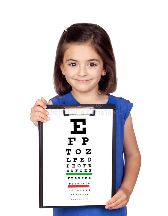 Beautiful child holding a vision exam chart stock photos