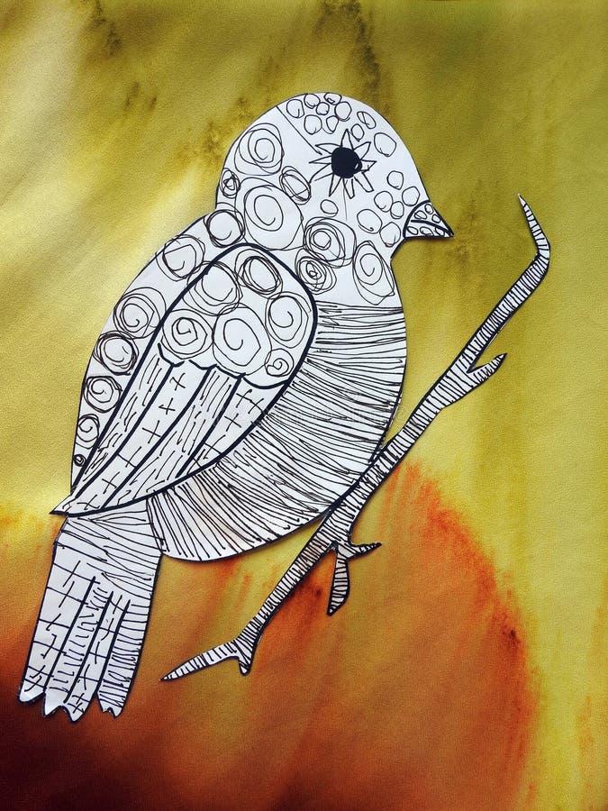 Children painted beautiful bird, Lithuania stock photography