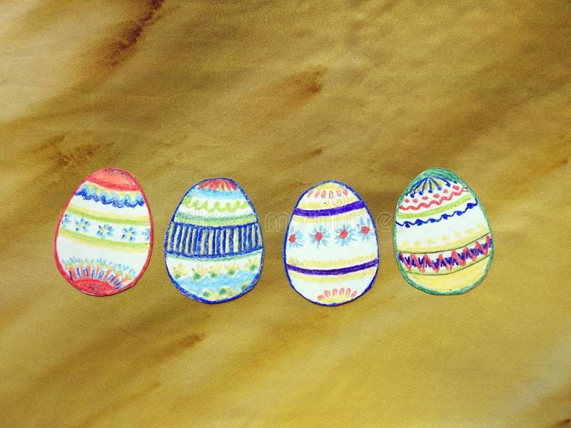 Children painted Easter eggs, Lithuania stock photography