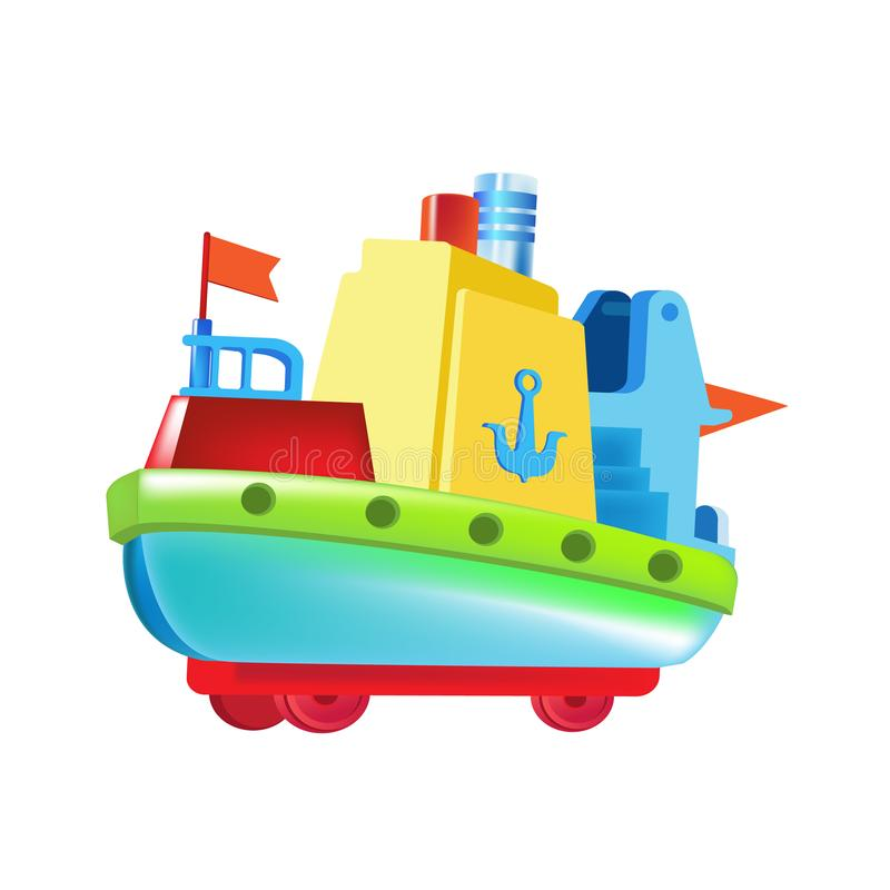 Beautiful children`s colored boat, made of bright elements. Water vehicle. vector illustration