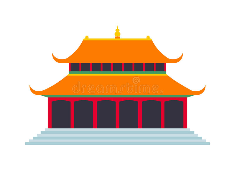 Beautiful china travel landmarks chinese temple vector. Chinese temple asia culture architecture and travel ancient building chinese temple. Chinese famous old royalty free illustration