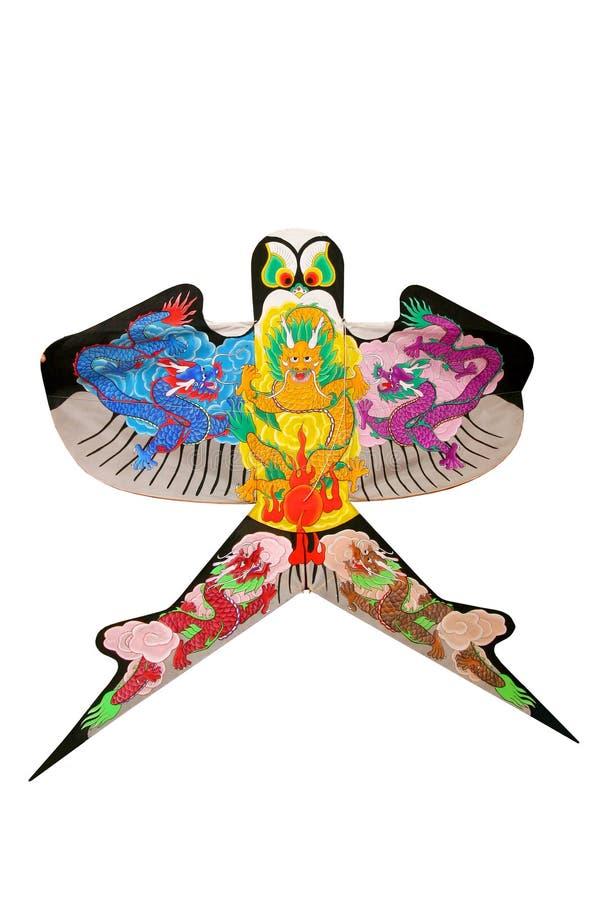 Beautiful Chinese Dragon Kite isolated stock image