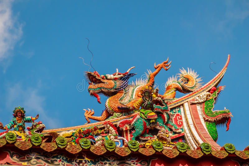 Beautiful Chinese dragon sculpture on the roof at Lungshan Temple of Manka, Buddhist temple in Wanhua District, Taipei, Taiwan. royalty free stock images