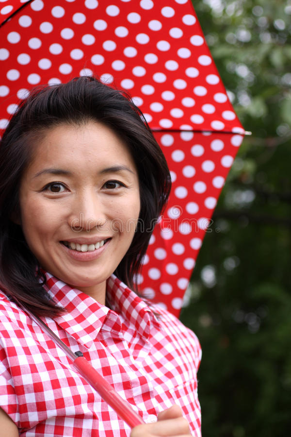 Beautiful Chinese Happy With Umbrella Stock Photos