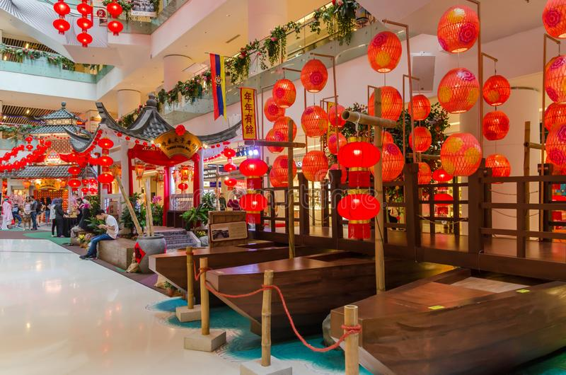 Beautiful Chinese New Year decoration in Sunway Putra Mall. Kuala Lumpur,Malaysia - February 8,2019 : Beautiful Chinese New Year decoration in Sunway Putra Mall stock photography