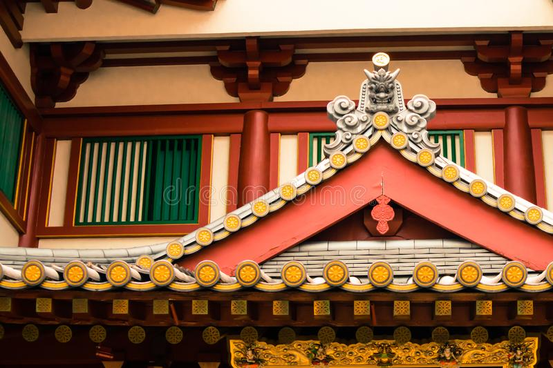 Chinese roof design at buddha tooth relic temple singapore stock image