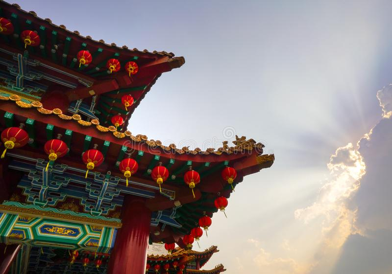 Chinese roof temple in Kuala Lumpur Malaysia. Beautiful chinese temple roof detail with colorful architectural work and lanterns hanging at Thean Hou temple stock images