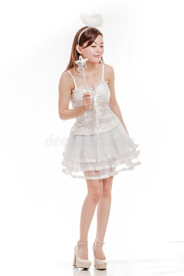 Beautiful Chinese Woman in Angel Halloween Costume royalty free stock image