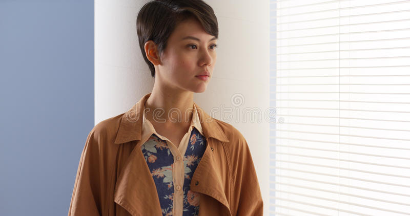 Beautiful Chinese woman wearing vintage clothes stock photo